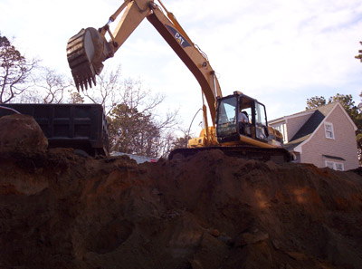 Photo of septic system site excavation by Dalpe Excavation of Falmouth Cape Cod